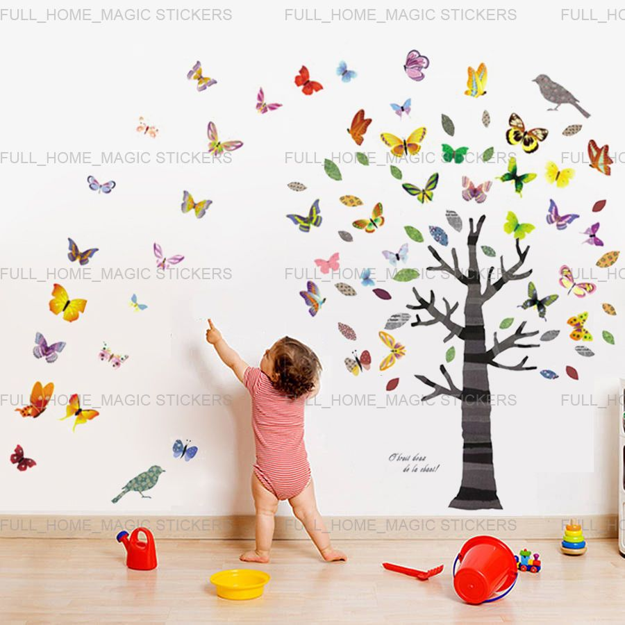 Children HUGE Colourful Tree Nursery Decoration paper Kids Wall Stickers