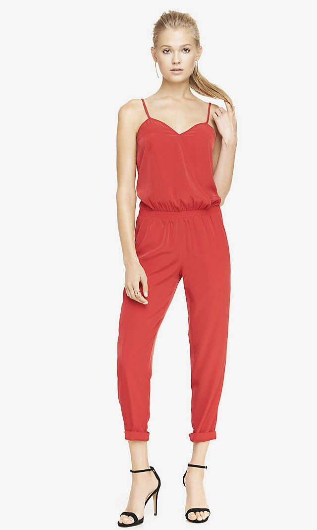 CROSSOVER CAMI JUMPSUIT - RED | Express