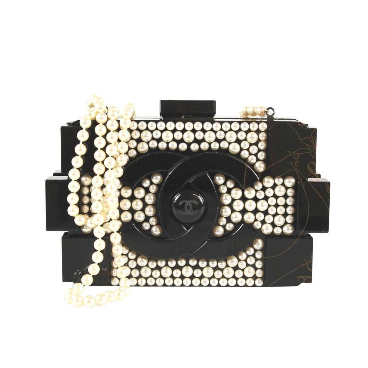 d4bc1705ce04 Chanel Black Plexiglass Pearl Embellished 2014 Cc Logo Lego Clutch | From a  collection of rare
