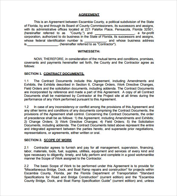 construction contract sample 8 Construction Contract Template