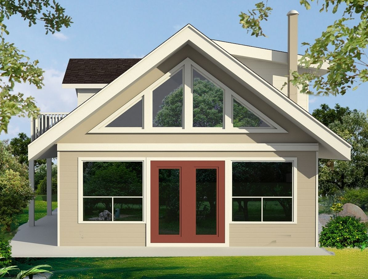 This carriage house or lane way home plan features a large loft