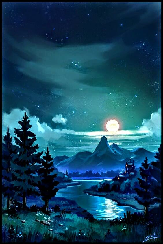 Moonlit Night Landscape... | Awesome in 2019 | Art ...