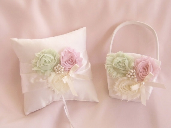 Flower Girl Basket and Pillow -  Rose Blossom Ivory Ring Bearer Pillow, Flower Girl Basket Vintage CUSTOM COLORS  too Wedding Pillow via Etsy