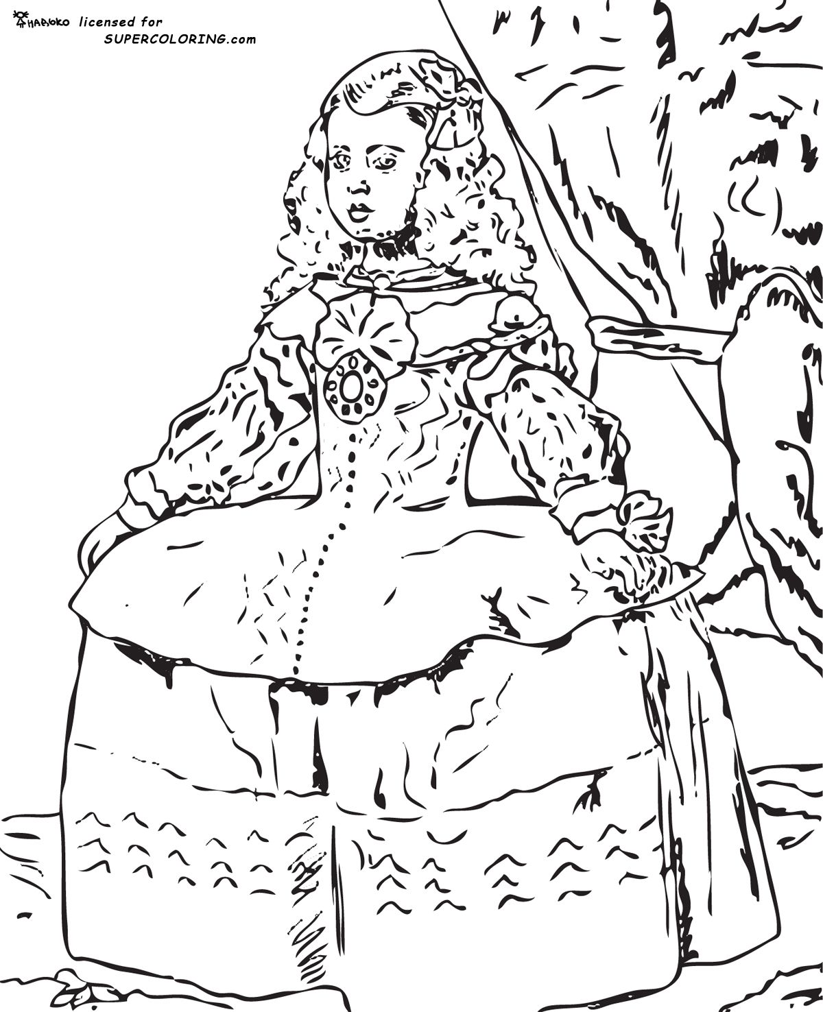 free printable coloring page for diego velazquez. | harmony fine