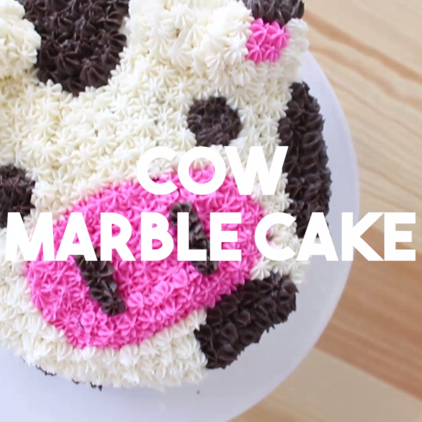 This may be the cutest thing you ever eat. A spotted cow cake – inside and  out!