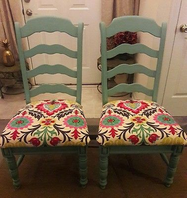 Pair Of Blue Custom Upholstered, High Back French Country Kitchen Dining  Chairs