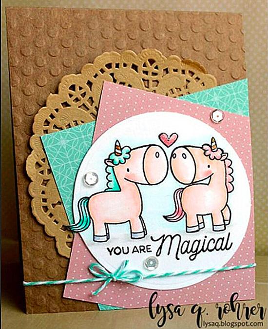 Birdie Brown Magical Unicorns stamp set and Die-namics - Lysa Q. Rohrer #mftstamps