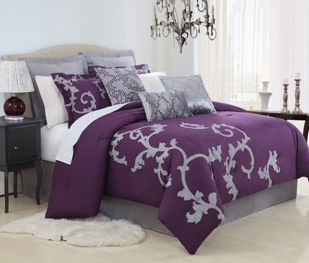 13 Piece Duchess Plum And Gray Bed In A Bag Set Grey Comforter