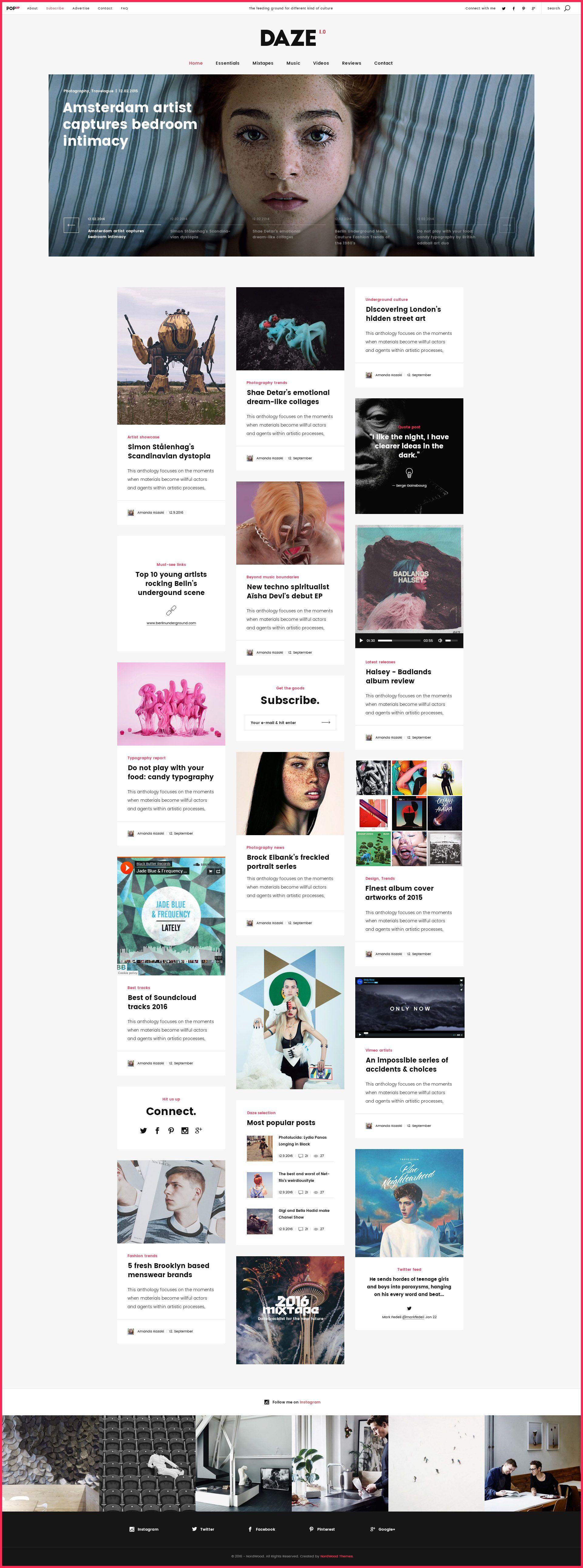 DAZE A True Wall Style Masonry Blog WordPress Theme