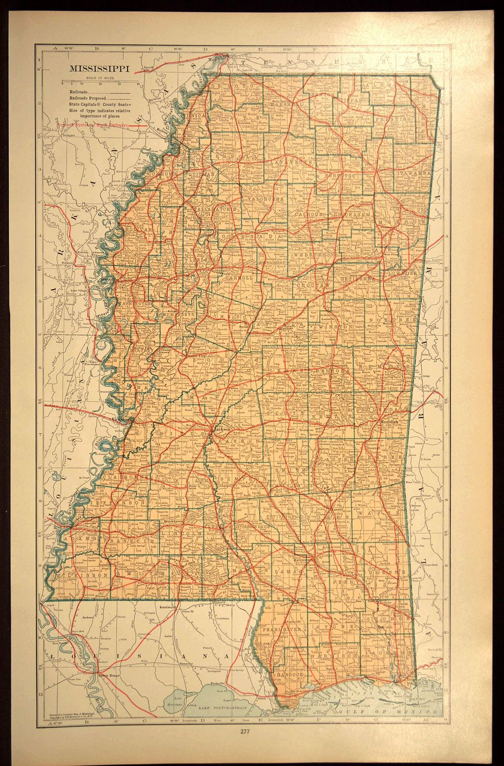 Mississippi Wall Art LARGE Mississippi Road Map Highway Decor | Map ...