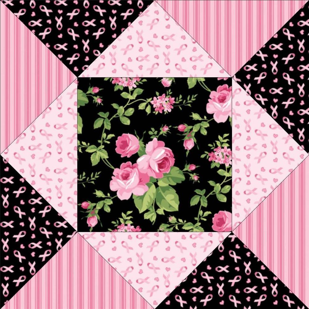 Jane Shabby Black Pink Floral Rose Breast Cancer Ribbon Pre Cut Quilt Fabric Kit Quilt