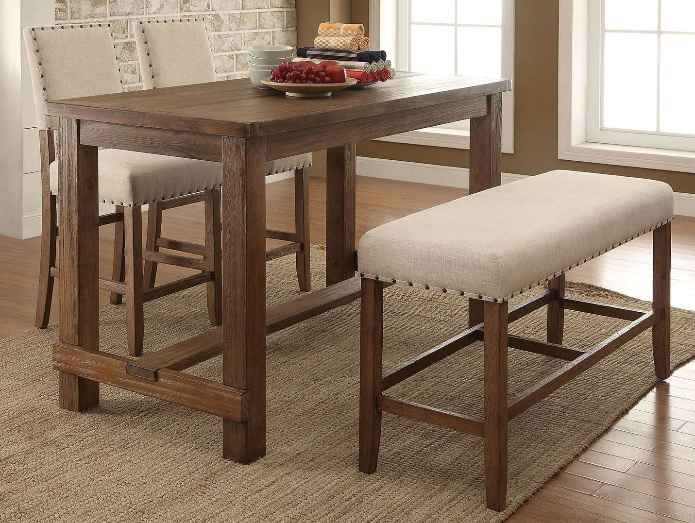 21++ Counter height dining table set with bench Best Seller