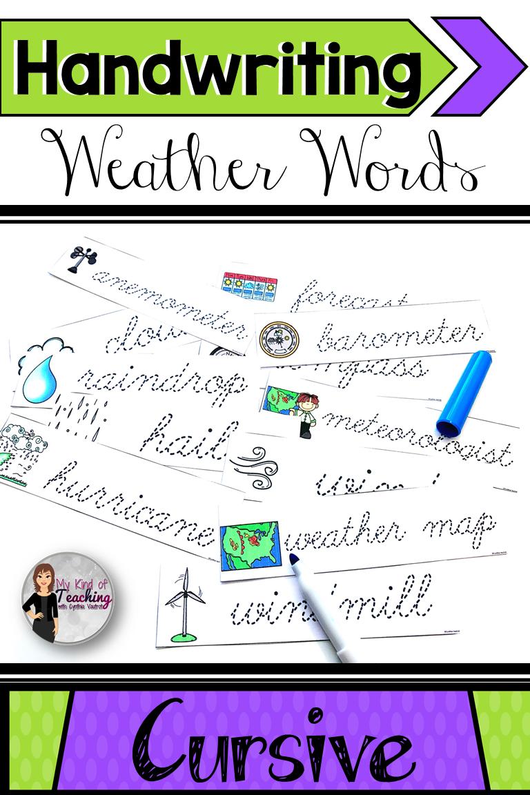 Cursive Writing Weather Weather Words Cursive Handwriting Practice Cursive Writing [ 1152 x 768 Pixel ]