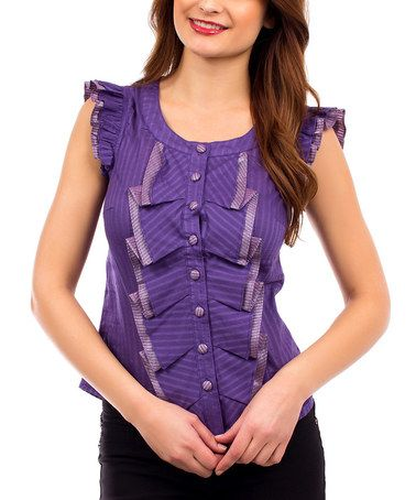 Another great find on #zulily! Purple Ruffle Cap-Sleeve Button-Up Top #zulilyfinds