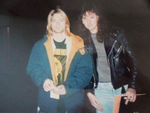 """""""Kurt Cobain and my friend Dave, Halloween '93, The J.A.R., Akron, OH """" posted by Gary Flamik (OHIOSPOWER on twitter)"""
