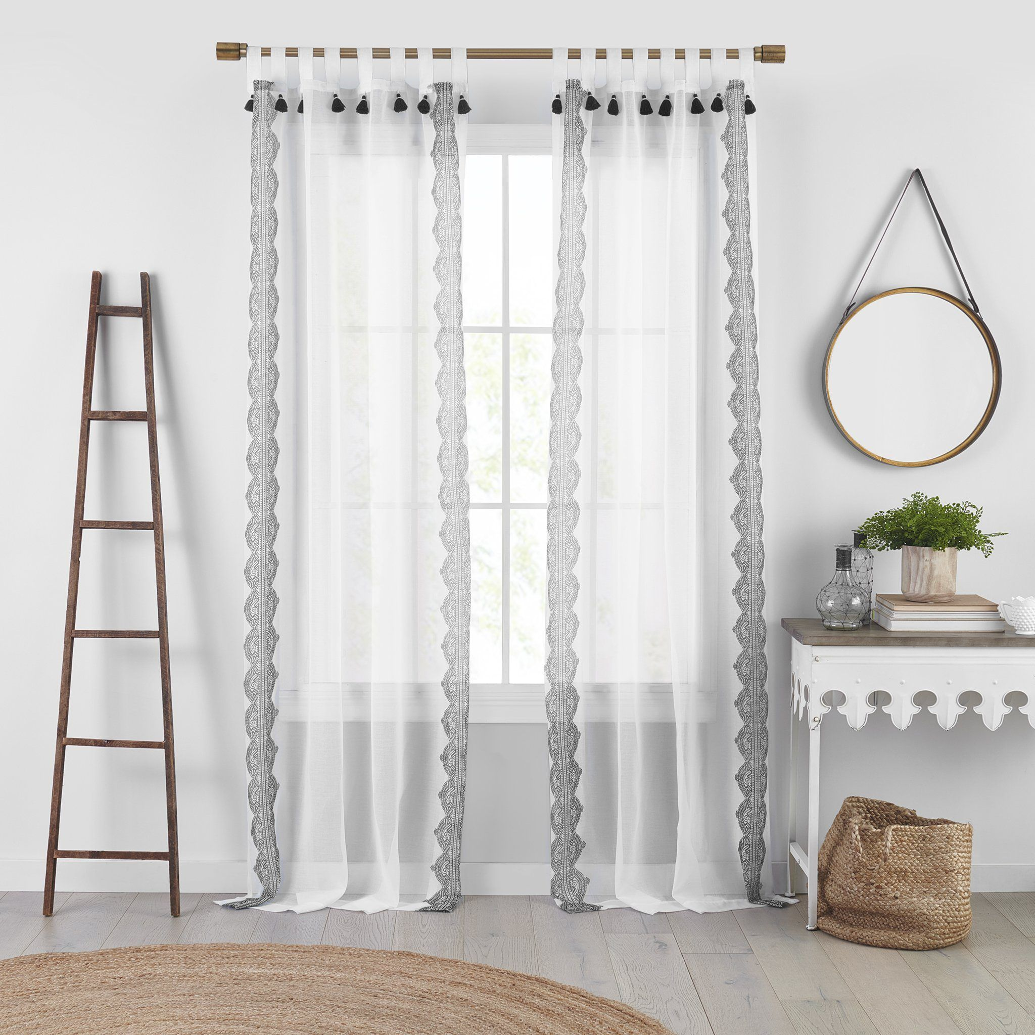 Shilo Boho Sheer Tab Top Window Curtain Panel With Tassels In 2021 Panel Curtains Elrene Home Fashions Sheer Curtains Bedroom White sheer tab top curtains