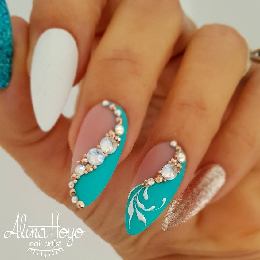 Beautiful teal blue white and gold gel nail designs with