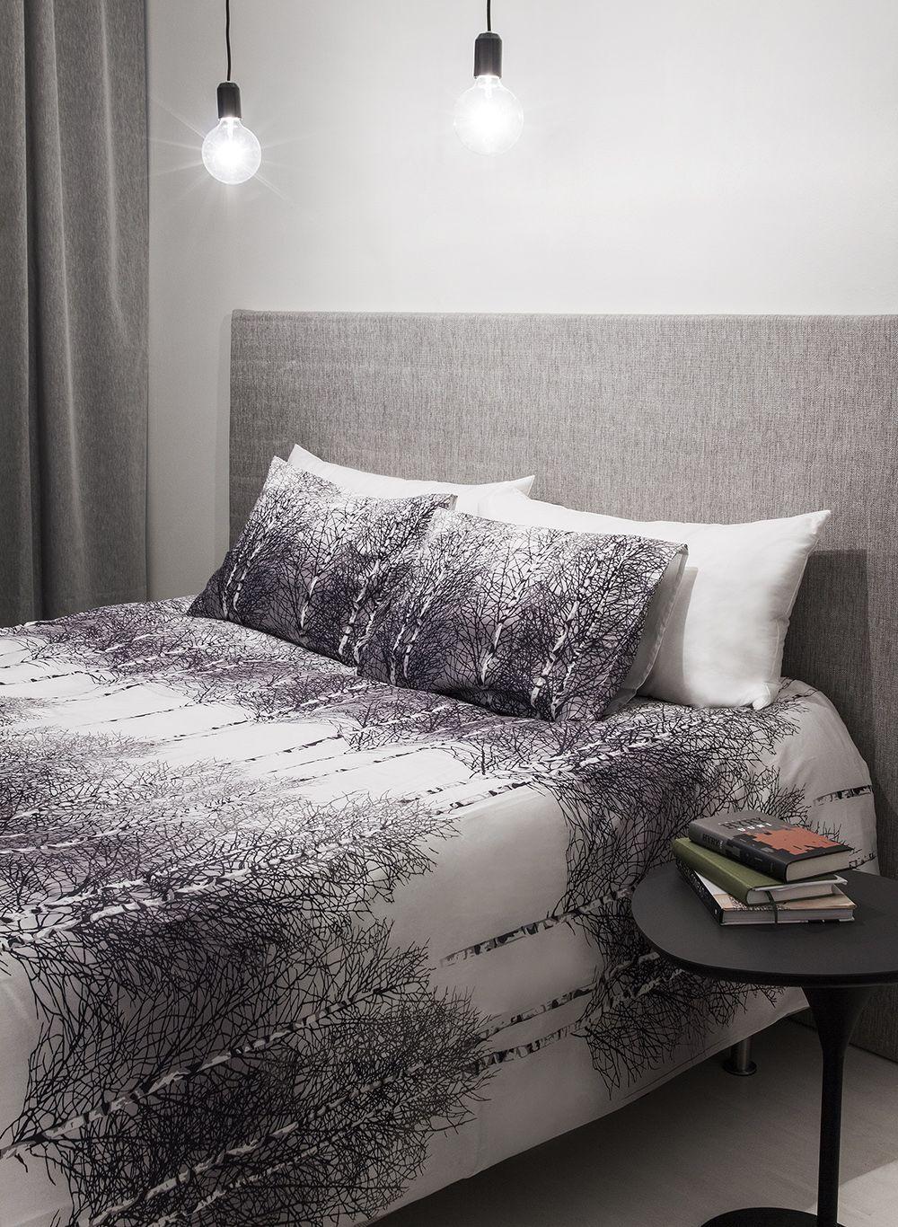 Vallilan valikoimiin kuuluu myös tuplaleveitä lakanoita. Koivikko -pussilakana on mitoiltaan 240 x 210 cm ja tyynyliina 55 x 65 cm.