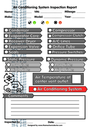 Air Conditioning System Inspection Report  Auto Mechanic