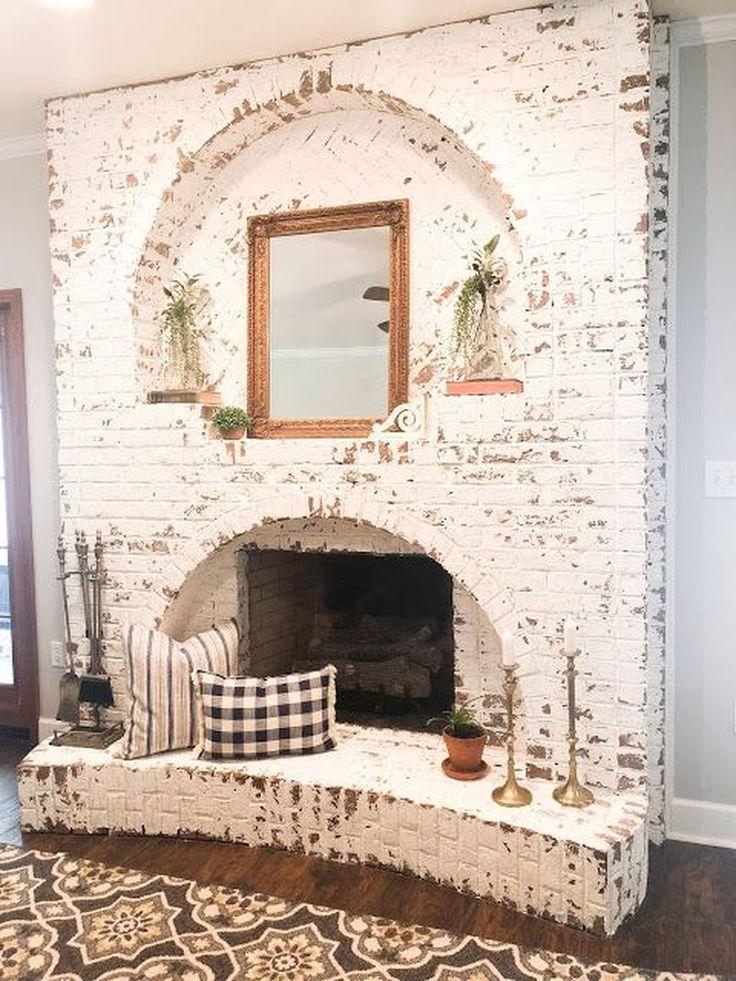 Fantastic 43 rustic brick fireplace living room decorations ideas. More on Homisch … #dekorationen #fantastic # ideas #kamin