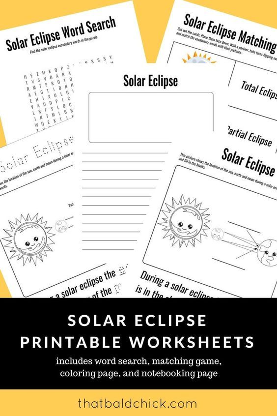 Use these solar eclipse printable worksheets to make the most of the ...
