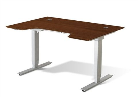 """55"""" Cherry Sit - Stand Solid Wood Desk with Motorized Height Adjustmen – OfficeDesk.com"""