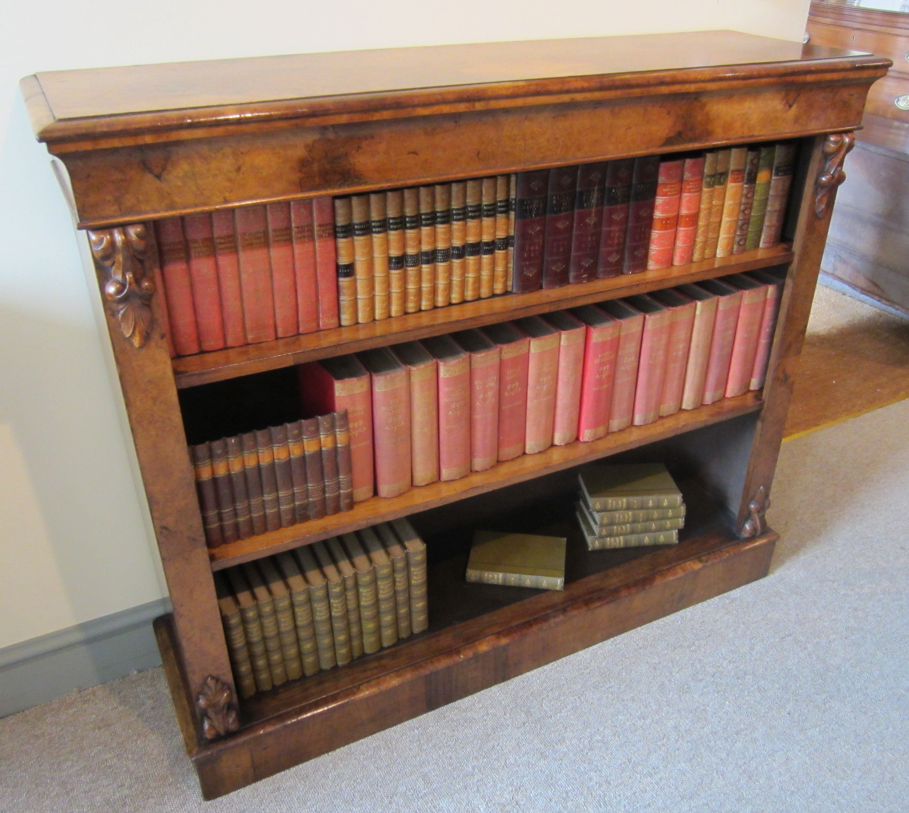 century open bookcase in burr walnut of excellent colour and figure with 2 adjustable shelves circa