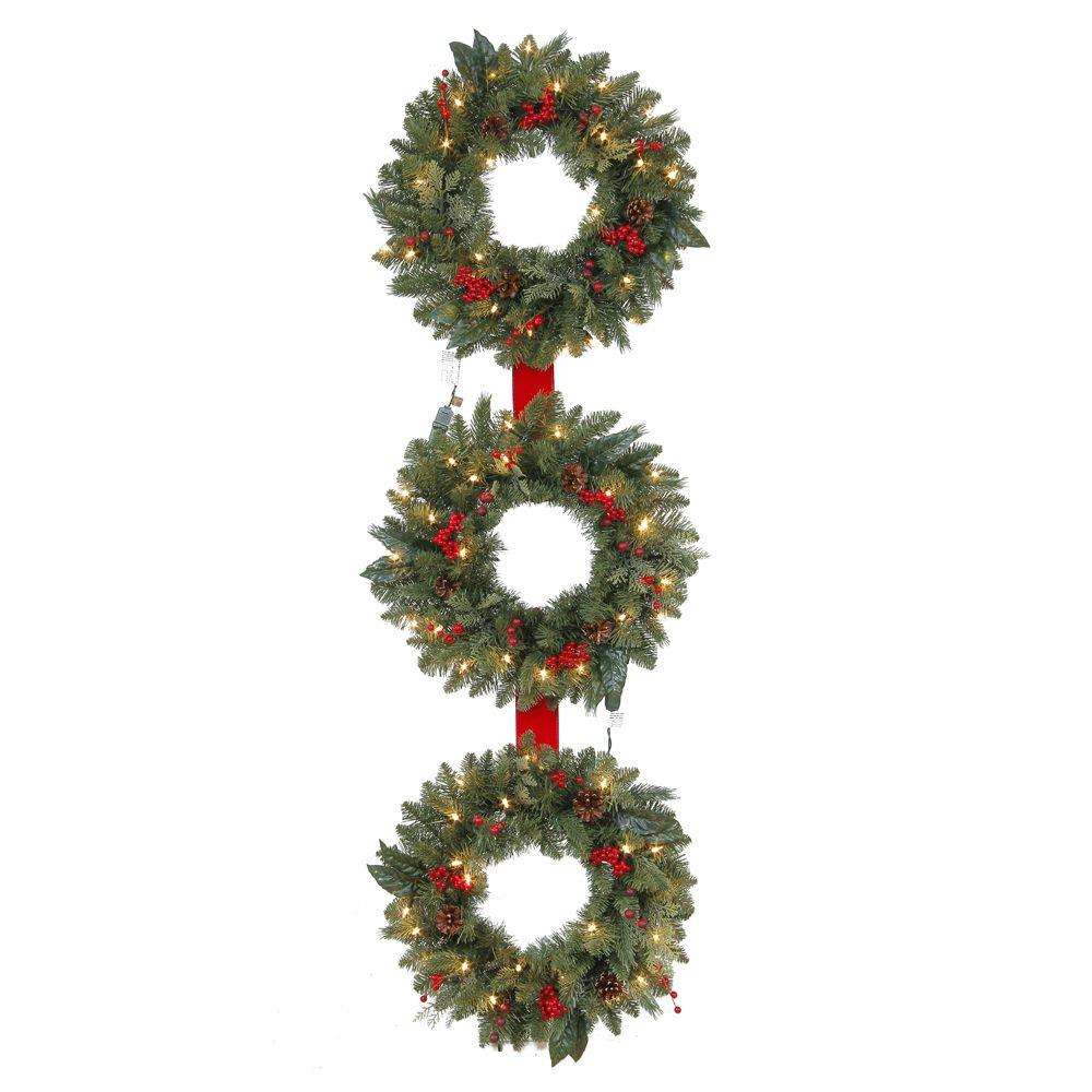 Martha Stewart Living 60 in. Winslow 3-Ring Artificial Wreath with ...