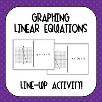 Graphing Linear Equations Line Up Activity Standard Form Equation