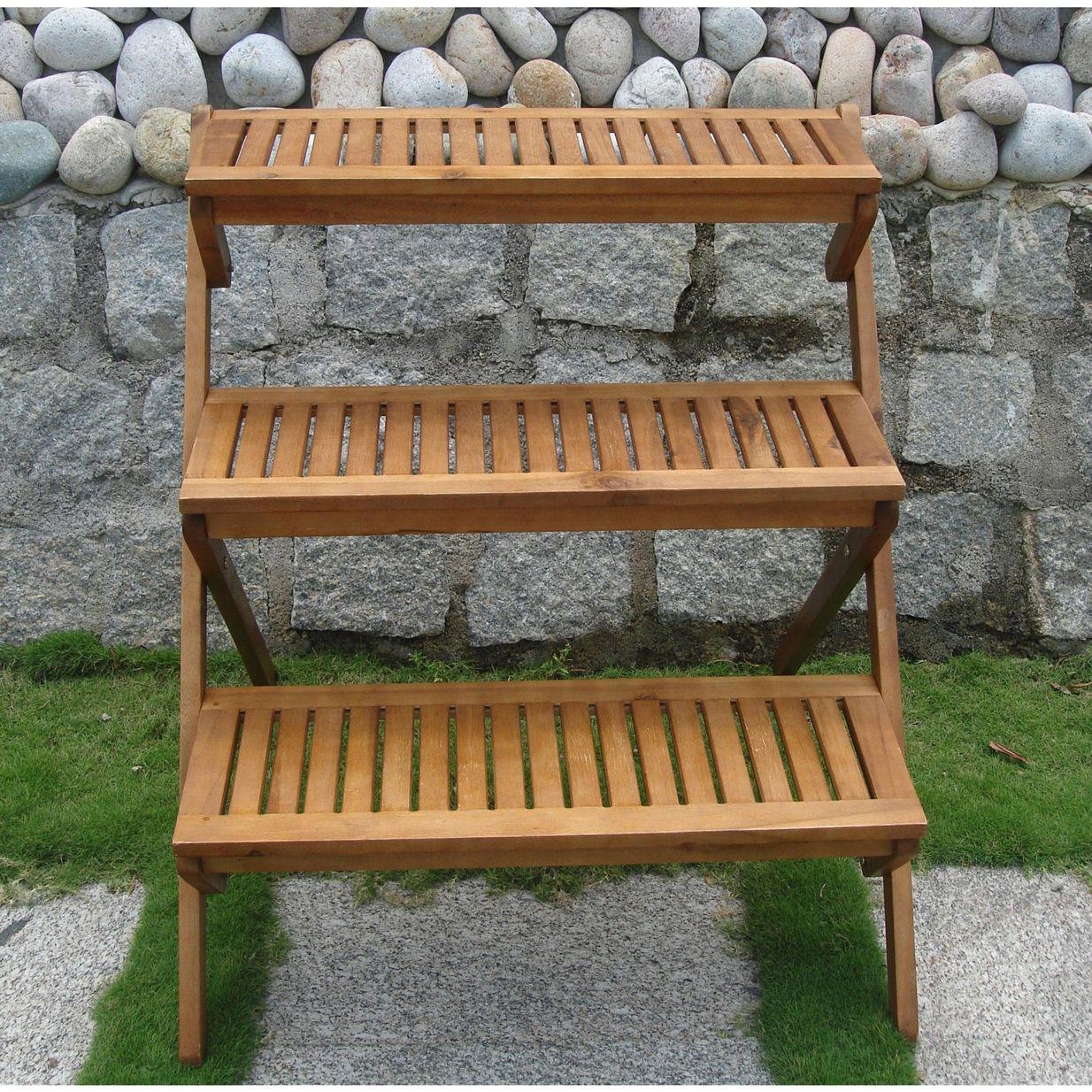 3 Tier Wooden Garden Cart Planter Cooks Porch Tiered Planter