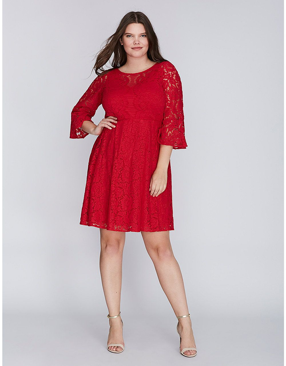Lace Fit & Flare Dress with Flounce Sleeves | Lane Bryant | dress ...