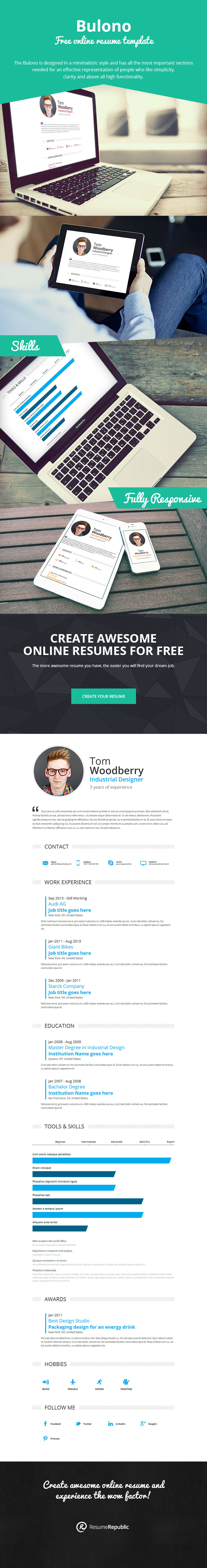 Work Experience  Resume Template Bulono    Online
