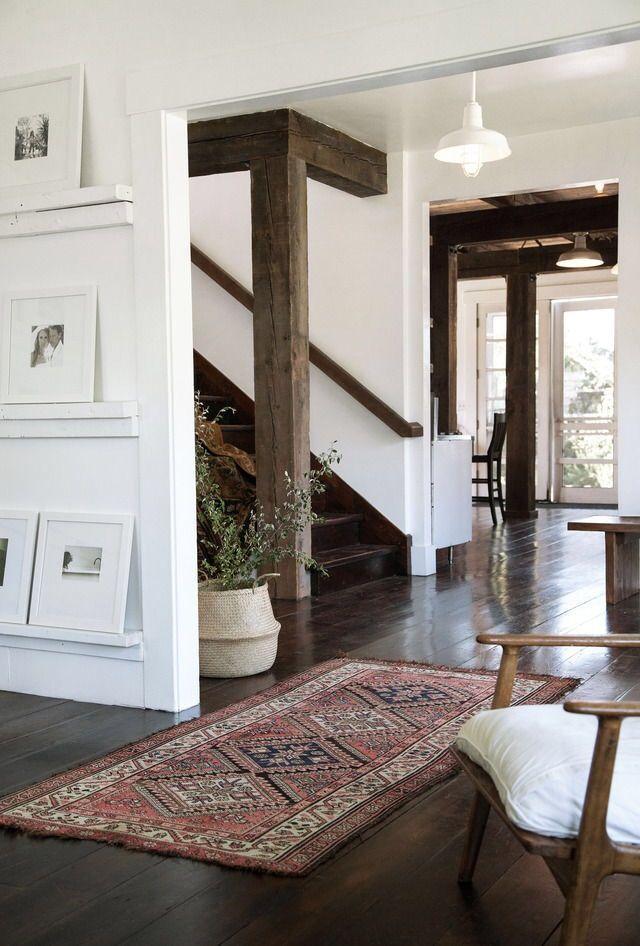 Rustic simplicity . So beautiful . Living room stairway hallway ...