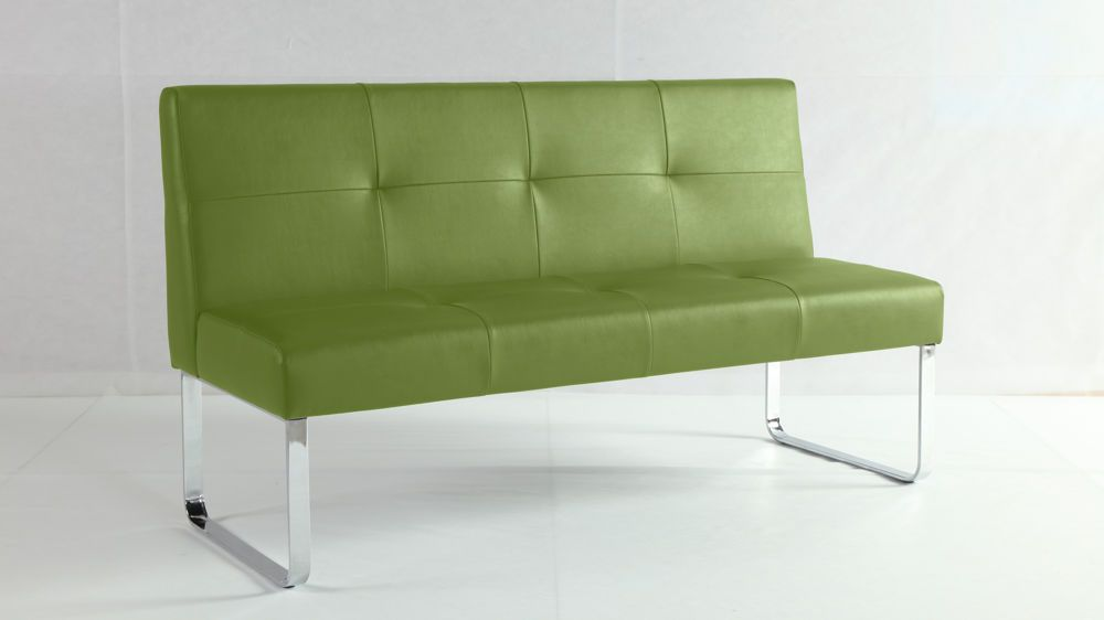 Funky Lime Green Dining Bench | Quilted Seat And Backrest | Loop Legs