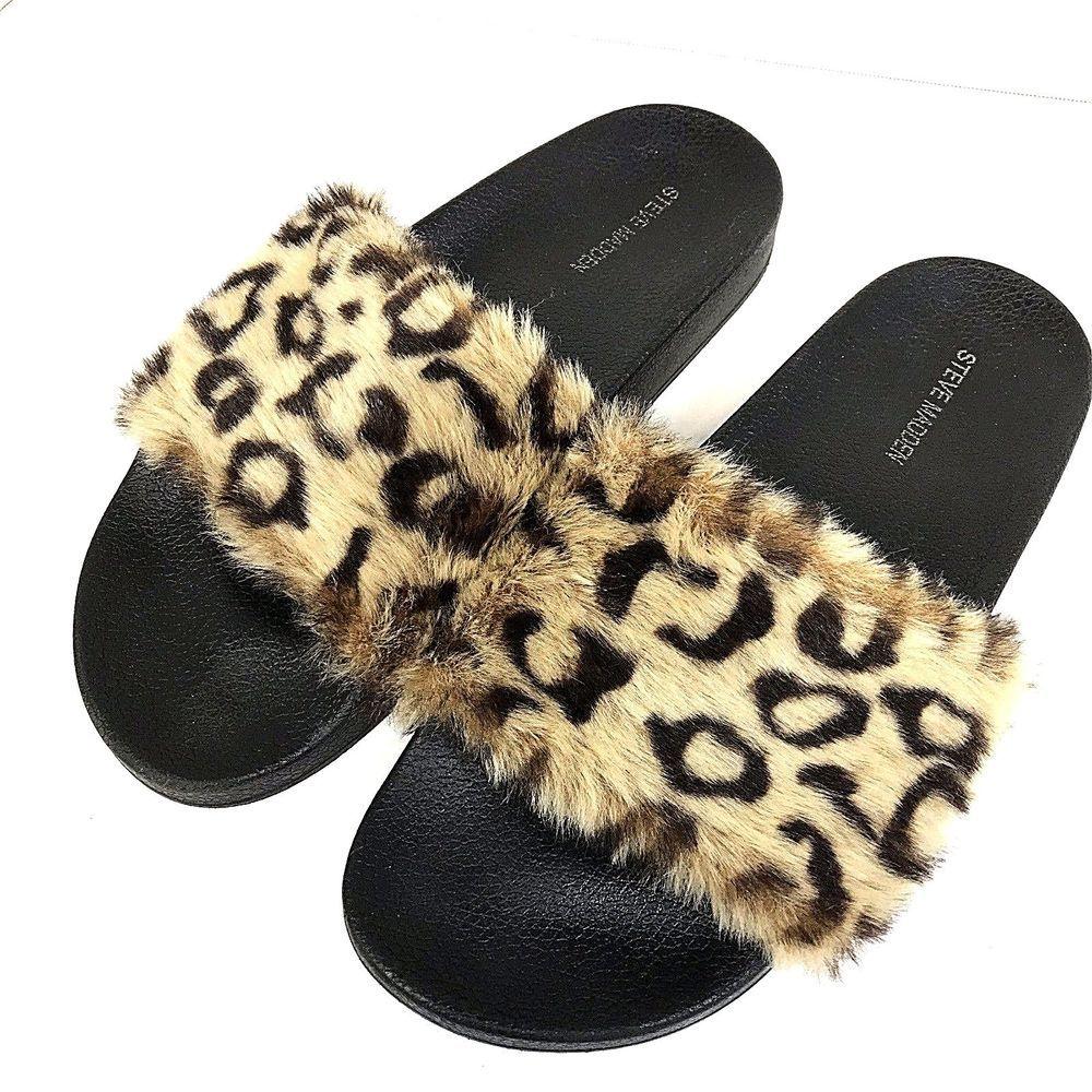 1921caf5d0c Steve Madden Softey Women s Size 10 Faux Leopard Furry Slide Black Sandal   fashion  clothing  shoes  accessories  womensshoes  sandals (ebay link)
