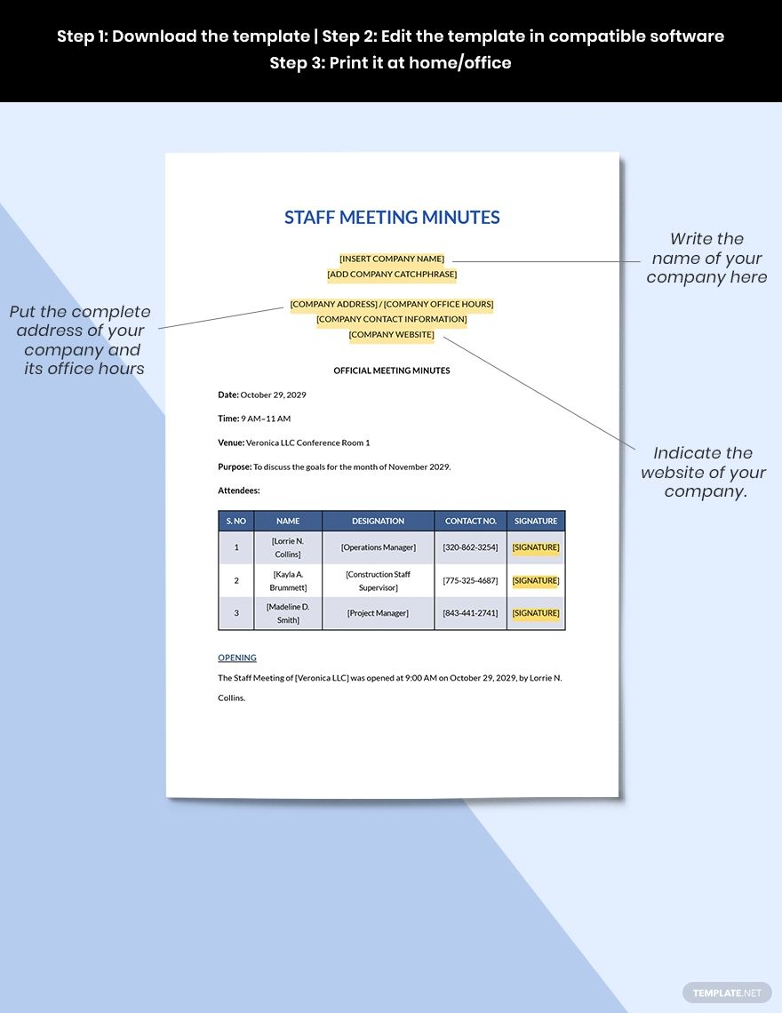 Construction Staff Meeting Minutes Template Free Pdf Google Docs Word Apple Pages Pdf Template Net Presentation Design Template Staff Meetings Templates Construction meeting minutes template excel
