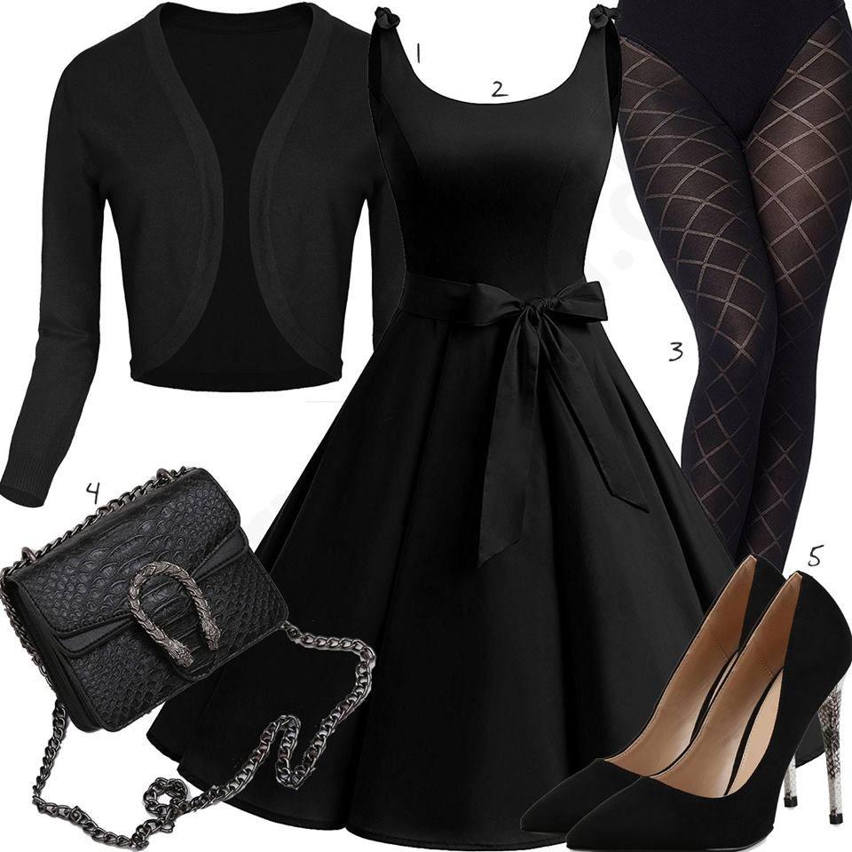 schwarzes damenoutfit mit blazer und abendkleid