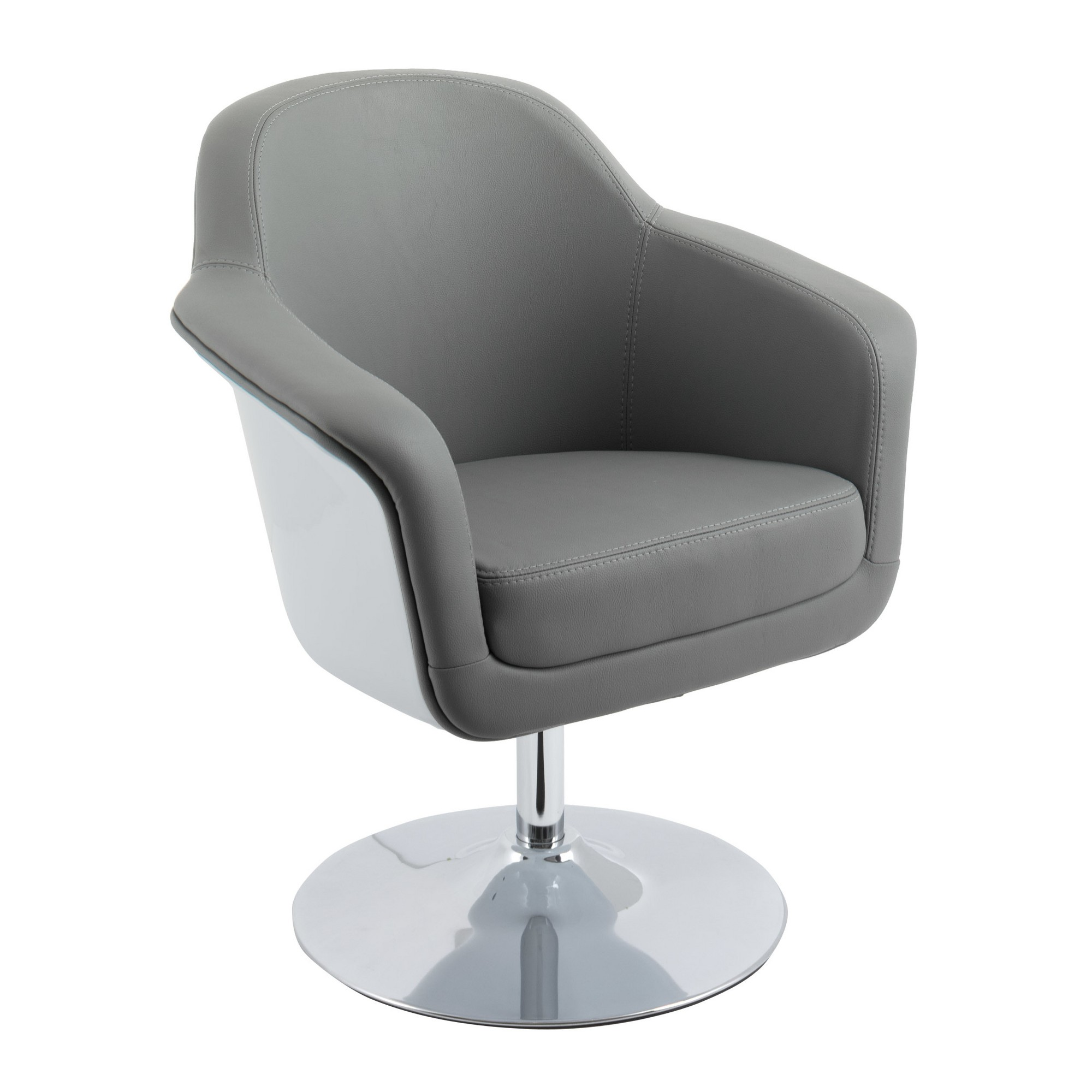 Elias Bonded Leather Accent Chair: Modern Bonded Leather Accent Chair Gray