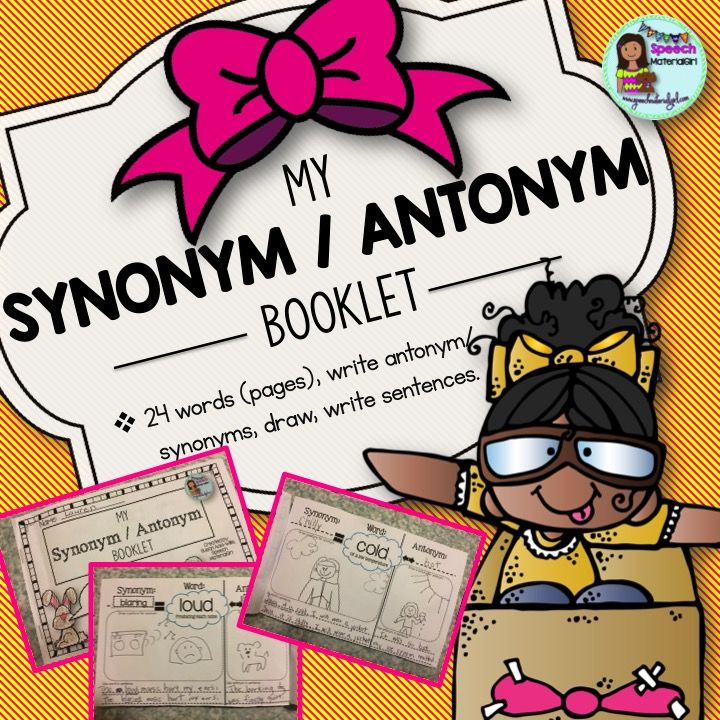 Speech Therapy Synonym Antonym MY BOOKLET draw & write sentences ...