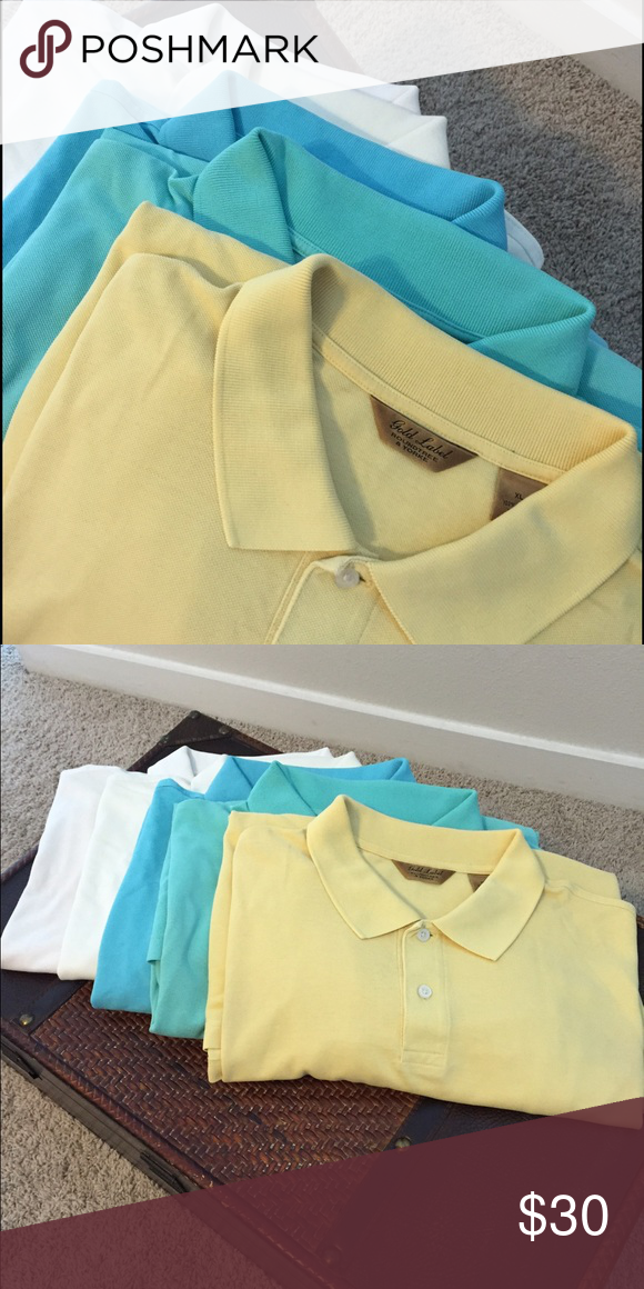 Men Gold Label Polo Bundle Size XL, Yellow, Teal, Blue, Cream and White. Good Used condition. Roundtree & Yorke Shirts Polos