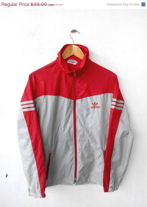 1c97f25cc7cc CLEARANCE SALE 25% 80 s Vintage ADIDAS Japan Red Gray Light Nylon Jacket  Windbreaker Training Sport Streetwear