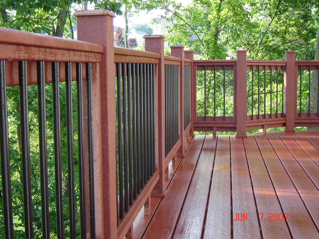 Moisture shield decking with custom railing metal for Timber decking handrail