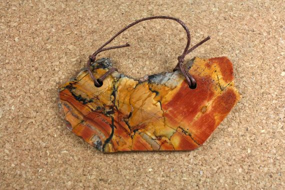 Red Creek Jasper Tablet Pendant  Red Tan and Brown by ABOSBeads