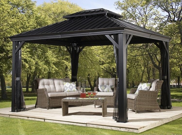 Patio Sun Shelter Pool Furniture Gazebo 10 X 12 Ft Hardtop Steel Roof Garden Set Patio Gazebo Hardtop Gazebo Aluminum Gazebo