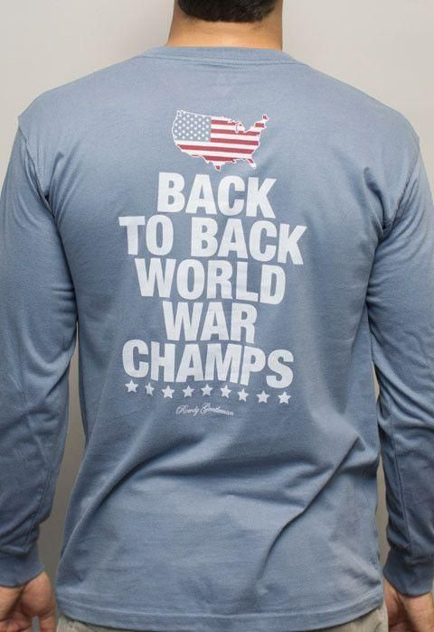 0eccb219 Back to Back World War Champs Long Sleeve Tee with America Silhouette in  Navy by Rowdy Gentleman