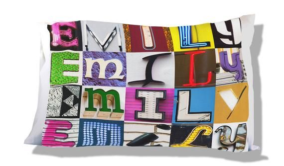 Personalized Pillow Case featuring EMILY in sign letters; Custom pillow cases; Teen bedroom decor; C