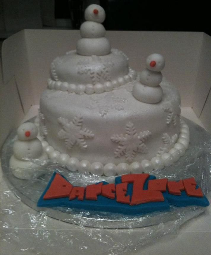 A Christmas cake made for a local dance group - by Lady T Cakes.