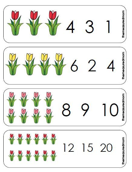 Printable Counting Activity for Preschoolers: Spring Tulips Count ...