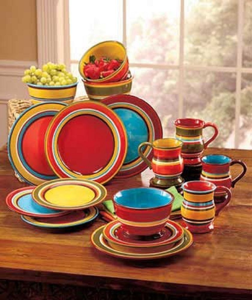 Striped Colorful Southwest Dinnerware Sets Coffee Mugs Cups Bowls Plates 16 Pc Alleyway Dinnerware Set Colorful Colorful Dinnerware Dinnerware Set Bright colored dinnerware sets