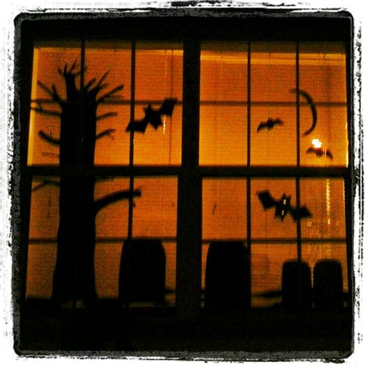 Halloween window decor Black poster board cutouts Halloween - halloween window decorations